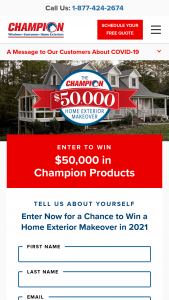 Champion Windows And Home Exteriors – $50000 2021 Giveaway – Win Fifty Thousand Dollars ($50000) worth of Champion Windows and Home Exteriors products