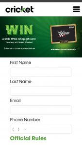 "Cricket Wireless – 2021 Wwe Shop Gift Card – Win one (1) $500 prepaid gift card (a ""Gift Card"")."