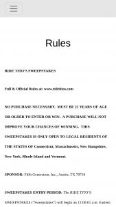 Fifth Generation – Ride Tito's – Win one (1) Tito's branded snowboard