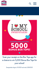 General Mills – Box Tops For Education I Love My School – Win 5000 Bonus Box Tops