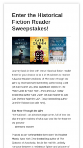 Harpercollins – Historical Fiction Reader – Win $35.98 Estimated retail value total prizes $2338.70
