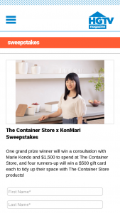 HGTV – Container Store X Konmari – Win one $1500 gift card for The Container Store and a 30-minute consultation with Marie Kondo