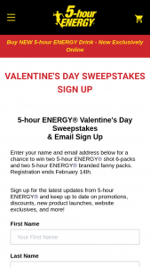 5-hour Energy – Valentine's Day – Win two 6 packs of 5-hour ENERGY shots (1 Extra Strength Watermelon flavor 6 pack