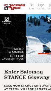 Jackson Hole – Salomon Stance Giveway Sweepstakes