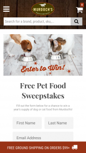 Murdoch's – Free Pet Food – Win twelve (12) Murdoch's certificates redeemable for one (1) bag of dog or cat dry food of the winner's choosing