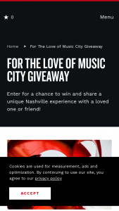 Nashville Convention & Visitors Corp – For The Love Of Music City Giveaway Sweepstakes
