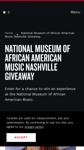 Nashville Convention & Visitors Corp – National Museum Of African American Music Nashville Giveaway Sweepstakes