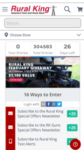 "Rural King – February 2021 Coleman 120cc Atv Giveaway – Win one (1) Coleman 120CC ATV (""Grand Prize"")."
