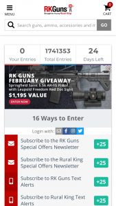 """Rural King – Monthly Gun Giveaway – Win (1) Springfield Saint 5.56 AR-15 Pistol with an Approximate Retail Value (""""ARV"""") of $849."""