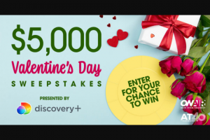 Ryan Seacrest – $5000 Valentine's Day – Win One check in the amount of $5000.00.
