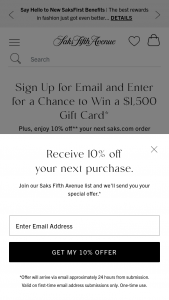 SAKS – Win A $1500 Shopping Spree – Win a $1500 SAKS Gift Card