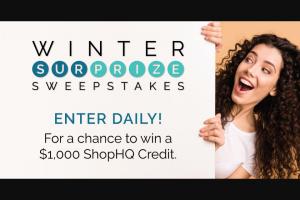 Shophq – Winter Surprize 1k – Win one $1000 ShopHQ Credit