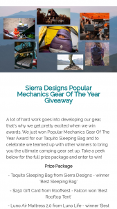 Sierra Designs – Popular Mechanics Gear Of The Year Giveaway Sweepstakes