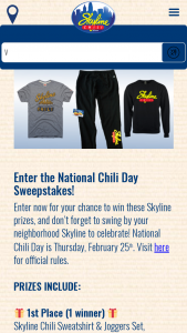 Skyline Chili – National Chili Day – Win a Prize Packages consisting of one Skyline Chili Sweatshirt