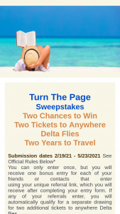 Tripmasters – Turn The Page – Win Round trip tickets to anywhere Delta Airlines flies