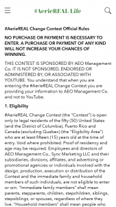 Aeo American Eagle – #aeriereal Change Contest – Win US $20000 in the form of a check