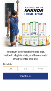 Anheuser-Busch – Michelob Ultra Organic Seltzer The Mirror – Win one (1) The Mirror Home Gym