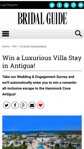 Bridal Guide – Luxurious Villa Stay In Antigua – Win 5-night stay for two at Hammock Cove Antigua including all meals snacks and beverages and most resort activities