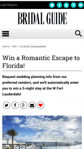 Bridal Guide – May/june 2021 Little White Book – Win stay at the W Fort Lauderdale a manicure at AWAY Spa and a $75 credit for dining at Steak 954.