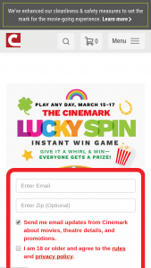 Cinemark – Lucky Spin Instant Win Game – Win a coupon good for $2 off any size popcorn