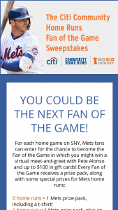 Citibank – Citi Community Home Run Fan Of The Game – Win a Tote bag and a Mets t-shirt
