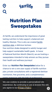 Fairlife – Nutrition Plan – Win a year-long supply of fairlife nutrition plan product