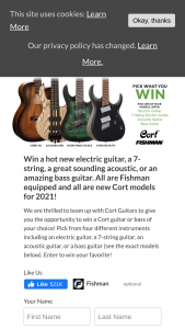 Fishman – Cort Instrument Contest – Win choose one instrument from list below