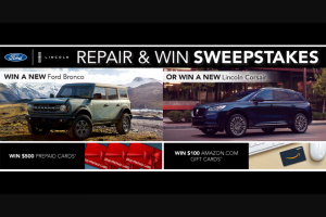 Ford- Repair And Win – Win a $3000 prepaid card
