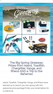 Island Brands – Big Spring Giveaway – Win Burner Griddle and all the Griddle accessories from Chargriller cooler and merch from Kanga and $200 gift card from Rheos and a 3 night/2 day trip to the Delphi Club