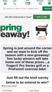Ld Products – 2021 Spring Giveaway – Win (a) Traeger® Pro Series Grill OR (b) ProForm® Carbon CX exercise bike