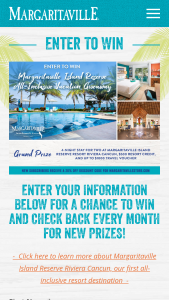 Margaritaville – Island Reserve All-Inclusive Giveaway – Win of four night/five day stay at the Margaritaville Island Reserve Riviera Cancun resort  $500 resort credit and $1000 airfare credit