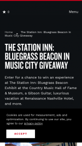 Nashville's Convention & Visitors Corp – The Station Inn Bluegrass Beacon In Music City Giveaway Sweepstakes