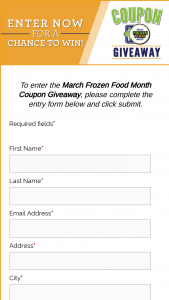 National Frozen & Refrigerated Foods Association – March Frozen Food Month Giveaway Sweepstakes
