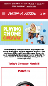 Radio Flyer – Playing At Home Giveaway – Win each day consisting of a Radio Flyer product