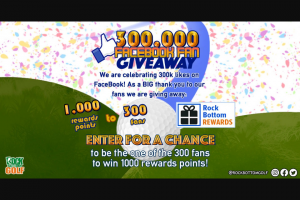 Rock Bottom Golf – 300000th Fan Giveaway Sweepstakes