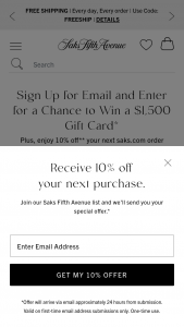 SAKS Fifth Avenue- March Email – Win of a $1500 SAKS Gift Card