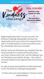 Salem Media Ccm Magazine – 2021 Kindness Challenge – Win their choice of car payments for a year not to exceed $12000.00 USD or up to $12000.00 USD towards the purchase of a vehicle