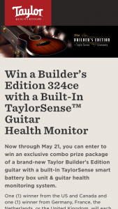 Taylor Guitars – Builder's Edition 324ce & Taylorsense Sweepstakes