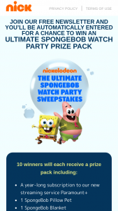 Viacom – Ultimate Spongebob Watch Party Sweepstakes