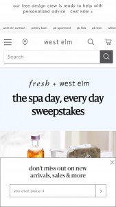 Williams-Sonoma – Fresh  West ELM Spa Day Every Day – Win a $500 gift card from West ELM and a $500 gift card from Fresh