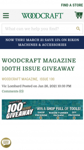 Woodcraft Magazine – 100th Issue Giveaway Sweepstakes