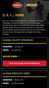 "Advance Auto Parts – Advance My Track Voting – Win one prize pack consisting of the following ""Advance My Track Challenge"" branded items two koozies"