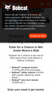 Bobcat – Straight Outta The Country Giveaway – Win End Loader     The CT2025 compact tractor offers rugged performance power comfort and all-around versatility for small farms ranches and acreages