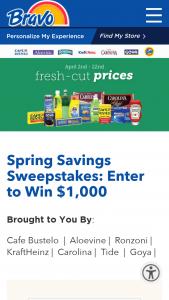 Bravo Supermarkets – Spring Savings Sweepstakes