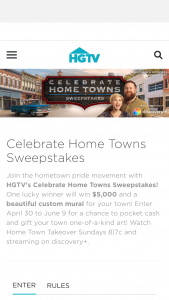 """Discovery Communications – Celebrate Home Towns – Win the following (the """"Grand Prize"""") Five Thousand Dollars ($5000) presented in the form of a check"""