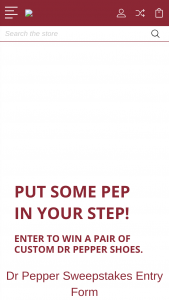Dr Pepper/seven Up – Dr Pepper Shoe – Win one Prize each