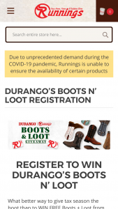 Durango Boots – Boots N' Loot – Win a code valid for four pair of Durango Boots and a $1000 gift card to Runnings