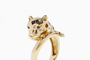 Effy Jewelry – 2021 Spring – Win Signature 14K Yellow Gold Multi Gemstone and Diamond Panther Ring 0.63 TCW (Web ID 12152 on wwweffyjewelrycom).