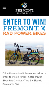 Fremont Brewing – X Rad Power Bikes – Win is a Fremont Brewing x Rad Power Bike-branded RadCity Step-Thru 3 electric bicycle