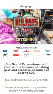 Frogg Toggs – Extreme Bass 2021 Giveaway – Win frogg toggs® Men's Pilot PRO™ Jacket in Realtree® Fishing Pattern of your choice